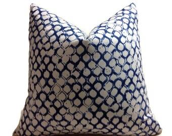 Trellis Sata Lapis Pillow,Indigo  Blue Pillows, Decorator Pillow Covers.Printed Fabric On Both Sides, Cushion Covers