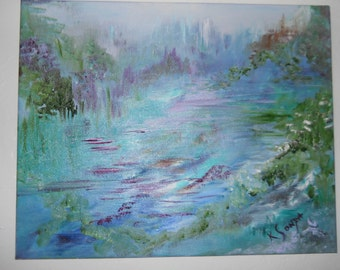 Endless Dream, Landscape Oil, Mountains, River, Trees, From Within, Original Oil Painting, KSonya, From Glen To Glen