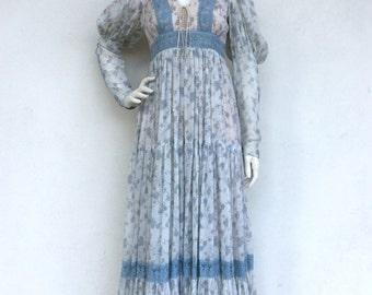 Ethereal bohemian 1970's Gunne Sax blue floral sleeved maxi dress