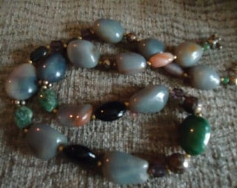 Boho Handcrafted Smoked Grey and Emerald Green Large Stone Ornate Necklace