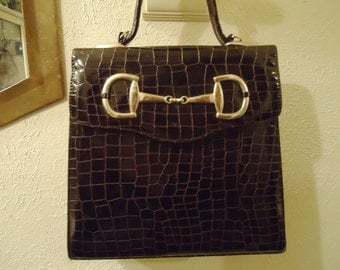 Vintage Chocolate Brown Leather Top Handle Handbag With Silver Hardware Detail