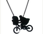E.T Necklace, Black Bike Laser Cut Pendant, Alien,  Retro, Kitsch Necklace