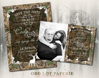 Rustic Camo Tree Save the Date, Wedding Announcement, Deer, Wood, Fall, Hunter- Digital Invitation, Printable Save the date card or postcard