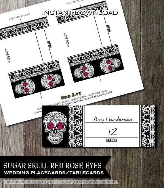 Printable wedding placecards Goth Skull and Lace with Pink Fuschia carnations folded Tent Cards weddings birthdays u0026 parties DIY Offbeat & Printable wedding placecards Goth Skull and Lace with Pink Fuschia ...