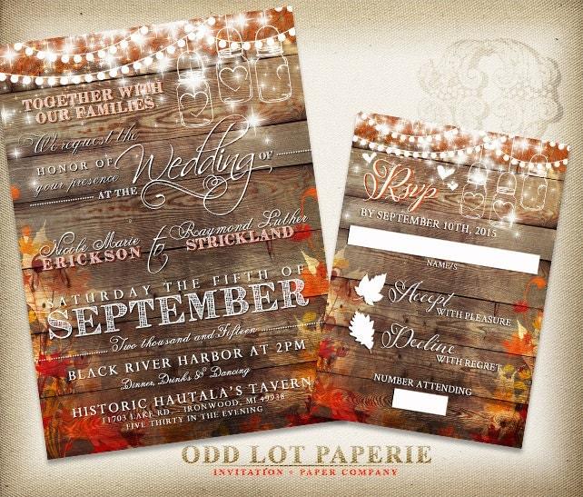 Rustic Wedding Invitation Fall Wedding Invite By OddLotPaperie
