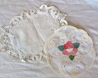 Set of 2 Antique Vintage Lace Cotton Embroidered White Pink Floral Doilies Placemats