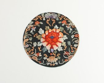 Vintage Chinese Silk Hand Embroidered Roundel - Mid Century