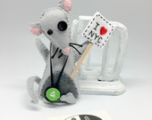NYC Subway Rat  soft sculpture decor, handmade in felt toy decor