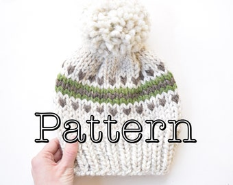Knitting PATTERN,  Fair Isle Knitted Hat, Knitting pattern, Fair Isle Pattern, Size Adult || The Juneau