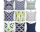 Navy Blue Pillows, Green Pillows, Pillow Cover, Decorative Pillow, Green Pillow, Blue Pillow, Accent Pillow, All Sizes, Euro Pillow, Cushion