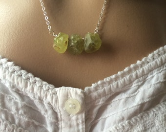 Green Garnet Necklace, Raw Green Garnet Necklace, Organic Green Garnet Necklace,Green Garnet