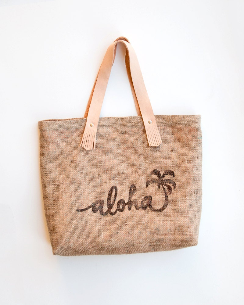 toile de jute naturel jute sac de plage aloha par theatlanticocean. Black Bedroom Furniture Sets. Home Design Ideas