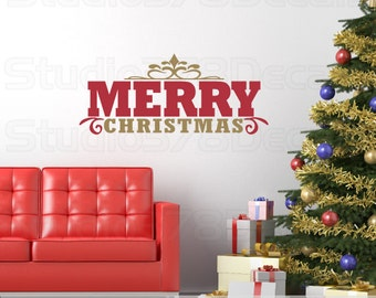 Merry Christmas Vinyl Wall Decal - Christmas Decorations - Christmas Wall decal - Holiday Decor - Vinyl Lettering - 10 x 28