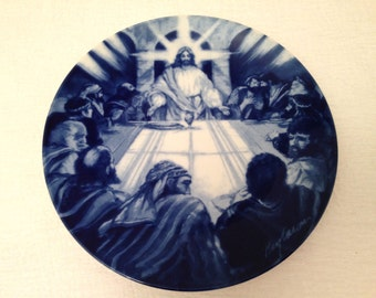 Vintage 1994 Avon Collector Plate THE LAST SUPPER Flow Blue Style Transfer