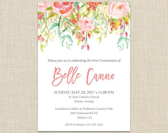 First Communion invitation. Baptism invitation. Confirmation invitations