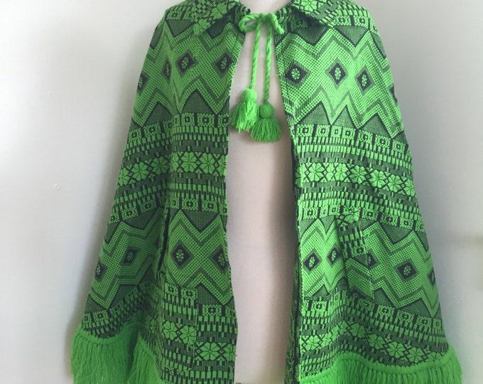 Vintage Green Tribal Fringed Cape