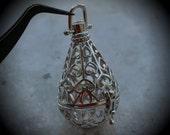 Teardrop Filigree Design Prayer Box Locket in Silver Plated Three Dimensional Pendant Charm C15