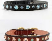 """Design Your Own Swarovski Crystal Dog Collar, 1/2"""" wide leather dog collar for small dogs"""