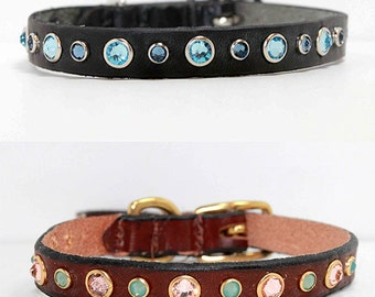 "Design Your Own Swarovski Crystal Dog Collar, 1/2"" wide leather dog collar for small dogs"