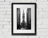 Philadelphia Photography Of William Penn City Hall Center City On Broad Street Fine Art Photography Print Black and White Photo