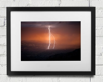 Lightning New Mexico - Lightning Storm Albuquerque, in Sandia Mountains Sandia Peak Canvas or Print