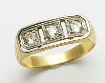 Vintage 14k yellow & white gold Diamond 3 Stone Ring band Antique Estate