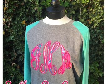 Script Circle or Scallop appliquéd  Monogrammed Ladies Raglan Tunic Sweatshirt with Lilly Fabric