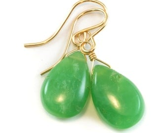 Green Chrysoprase Earrings Sterling Silver or 14k Gold Filled Smooth Pear Briolette Teardrops Simple Natural Raw Apple Green Color Drops