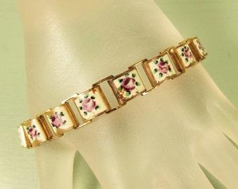 Shabby Rose Brass Bracelet - Vintage Pink White Green Enamel Link