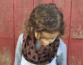 Toddler Infinity Scarf: Mocha & Navy Traingles Jersey