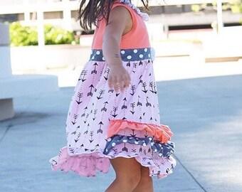 SALE Girls Dress Size 3, 4, 5 Ruffle Dress Boho Dress Toddler Dress Birthday Dress Party Dress Spring Dress Summer Dress Bohemian Dress Hipp