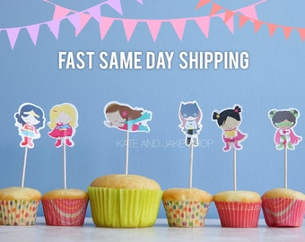 Set of 24 Girl Superhero cupcake toppers double sided superhero themed party topper