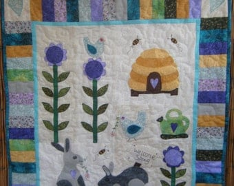Spring Time Bunnies, Birds and Bees Quilted Wall Hanging - Handmade by Me