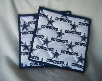 Large Cowboy's Football Fabric Quilted Potholders - Set of 2 - HANDMADE BY ME