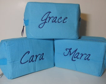 Set of 3 Personalized Bridal Party Cosmetic Bags - Bridesmaid Makeup Bags - Waffle Weave Spa Bags - Great Gift - Aqua Bag with Purple Font