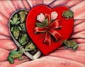 Original Framed Pastel Drawing / Painting Creepy Valentines Day Frogs 8x10