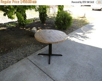 Last Chance Sale 15% OFF. Round Old Reclaimed Barnwood Restaurant Pedestal Dining Table, 24 inch 1-4 person