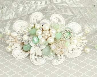 Mint Hair Accessory- Mint Green Bridal Comb- Wedding Hair Accessories- Mint Bridal Hair Comb- Mint Vintage Inspired Comb- Brass Boheme