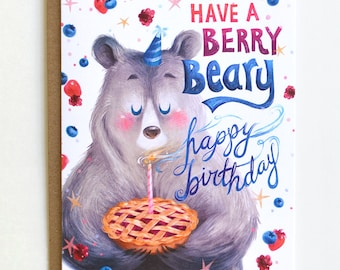 Bear Birthday Card- Berry Pie