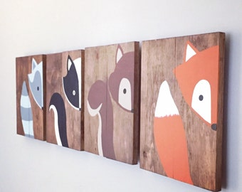 Baby Animal Paintings - Woodland Paintings - Woodland Sign Set - Woodland Nursery Decor - Baby Shower Gift - Fox Painting - Raccoon Painting