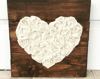 Heart sign, fabric heart, rustic pallet sign, 14x14, wedding gift, nursery decor, custom, love, heart decor, gallery wall farmhouse