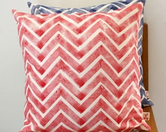 """Red Chevron Hand block printed decorative scatter cushion cover 18 x 18"""""""
