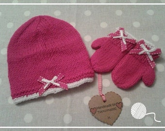Hand Knitted Dark Pink Baby Gift Set - 0-3 months size only - Girl - Made by Tootsietastic - READY TO SHIP