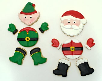 Decorated Cookies for Christmas - Santa Claus and Ef in Pieces- 1 dozen