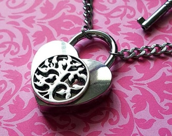 Tree Of Life - Stainless Steel Discreet Slave BDSM Day Collar Necklace Heart Lock