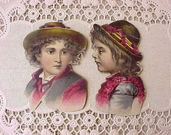 2 Sweet Victorian 1800's Era Scraps with Little Boys