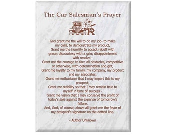 Engraved Car Salesman Prayer Plaque- (Car Salesman Prayer, Car Salesman Plaque, Engraved Plaque, Prayer Plaque, Plaque, Wall Plaque