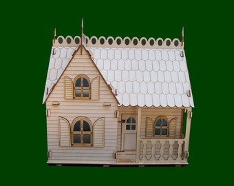 Shutter Cottage Dollhouse- (Wooden Doll House, Custom Doll House, Doll House, Cottage, Cottage Doll House, Doll House with Furniture)