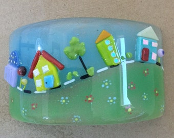 Tiny Town Fused Glass Candle Shield