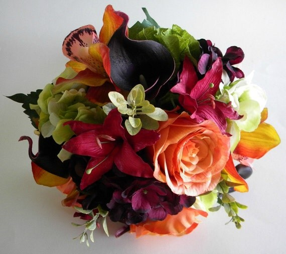 The Rachel Bouquet SMALL Size Real Touch Wedding Flowers In Orange Sangria Purple And Green Fall